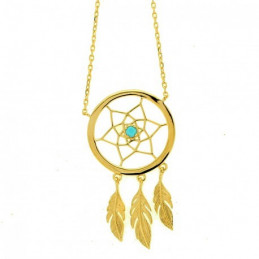 Collier Indien attrape attrapeur de rêves dreamcatcher en plaqué or 3 plumes - 45cm