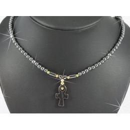 Collier croix de vie égyptienne en hématite 42 cm