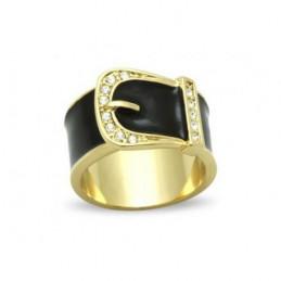 Bague Wi132 femme boucle de ceinture noire acier doré
