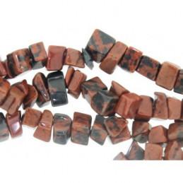 Fil de chips perles en Obsidienne rouge mahogany - 90cm