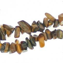 Fil de Chips perles en Oeil de Tigre marron - fil de 90cm