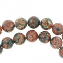 Fil de 38 perles rondes 10mm 10 mm en Jaspe Léopard