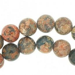 Fil de 85 perles rondes 4mm 4 mm en Jaspe Léopard