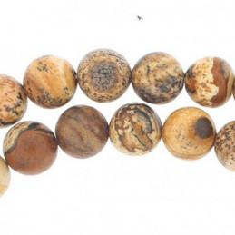 Fil de 61 perles rondes 6mm 6 mm en jaspe paysage