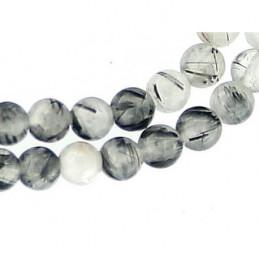 Fil de 60 perles rondes 6mm 6 mm en quartz inclusions tourmaline schorl