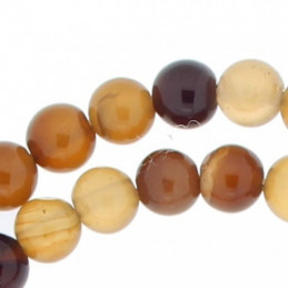 Fil de 63 perles rondes 6mm 6 mm en agate marron rayé