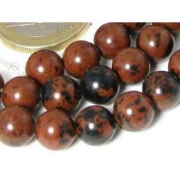 Fil de 64 perles rondes 6mm 6 mm en obsidienne rouge acajou mahogany