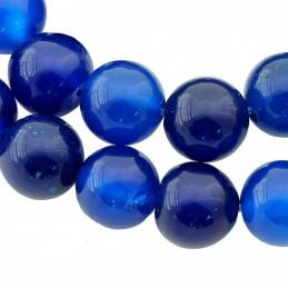Fil de 62 perles rondes 6mm 6 mm en agate agathe bleu fonçé
