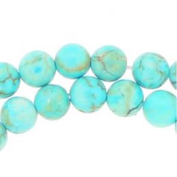 Fil de 92 perles rondes 4mm 4 mm en howlite turquoise bleu clair teinté