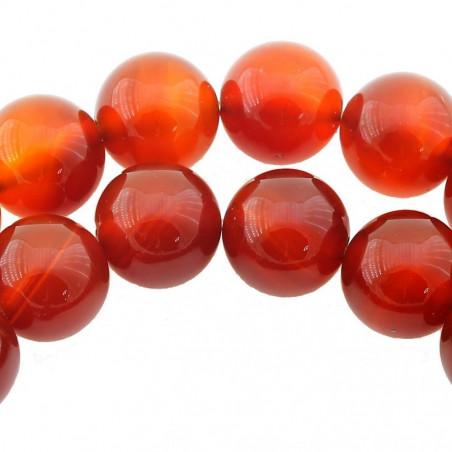 Fil de 95 perles rondes 4mm 4 mm en cornaline ou agate rouge