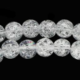 Fil de 64 perles rondes 6mm 6 mm en cristal de roche craquelé transparent