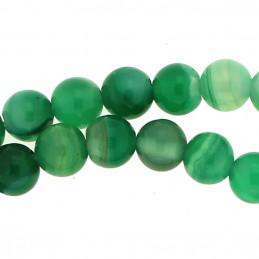 Fil de 62 perles rondes 6mm 6 mm en agate verte rayée transparente
