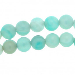 Fil de 46 perles rondes 8mm 8 mm en agate agate bleu ciel cyan