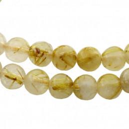 Fil de 30 perles rondes 6mm 6 mm en quartz rutile rutilé doré cheveux d'ange