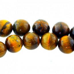 Fil de 32 perles rondes 12mm 12 mm en Oeil de Tigre marron