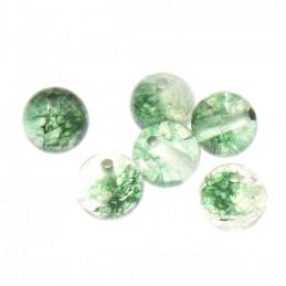 Lot de 20 perles rondes 8mm 8 mm en quartz fantôme vert avec chlorite