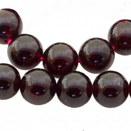 Fil de 18 perles rondes 10mm 10 mm en grenat rouge