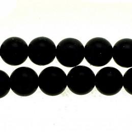 Fil de 48 perles rondes 8mm 8 mm obsidienne noire