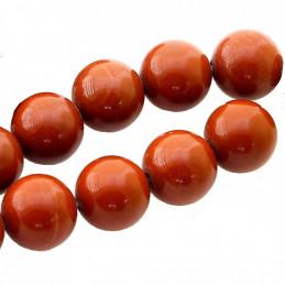 Fil de 39 perles rondes 10mm 10 mm en Jaspe rouge